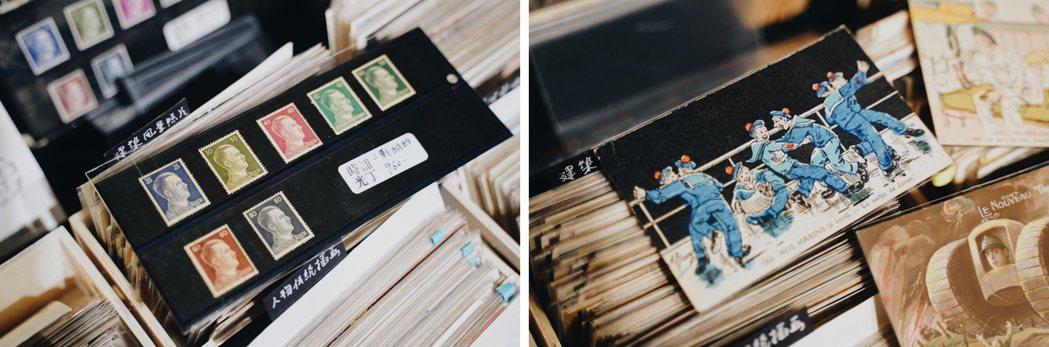 時光補丁除了有百年老明信片、法國賽璐璐明信片,還有一、二戰時貨幣、老股票等特色藏...