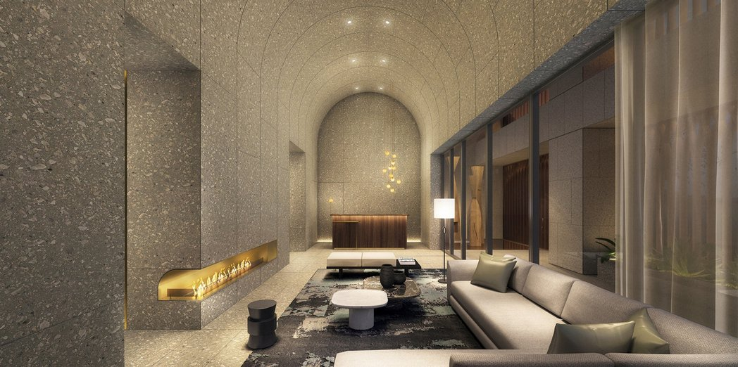 「鐫月」一樓門廳3D模擬示意圖。