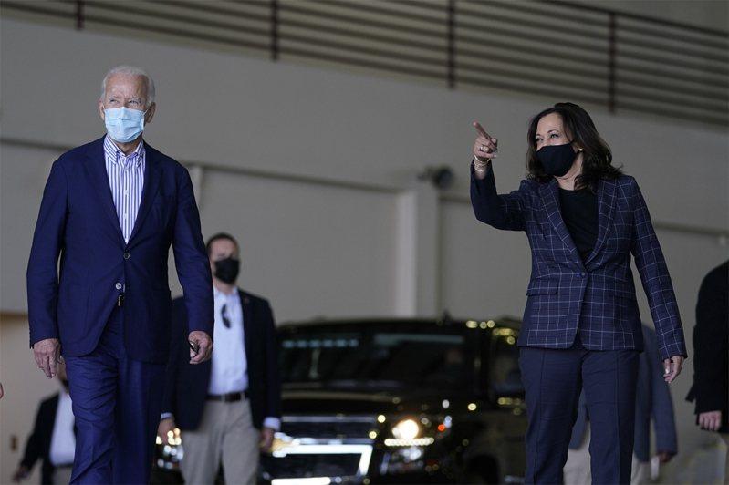 美國大選,拜登(左)陣營中至少已有3人確診新冠肺炎,副總統候選人賀錦麗(右)將暫停競選活動。美聯社