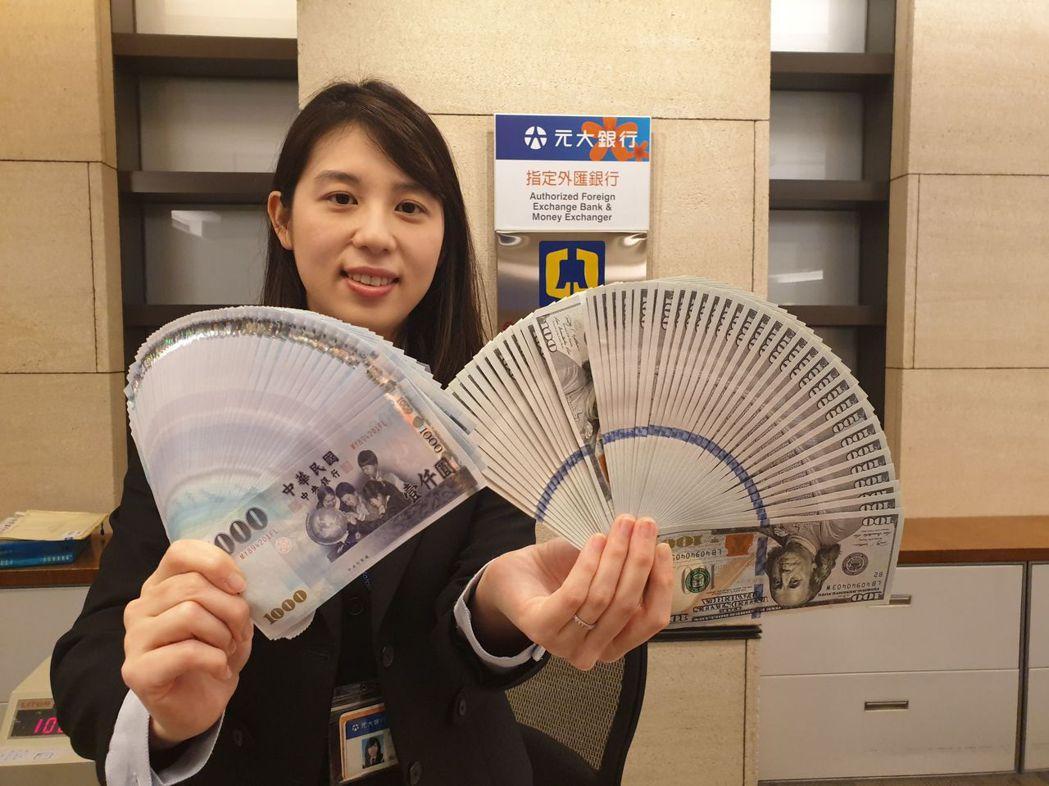 新台幣午盤暫收28.775元價位。圖/元大銀行提供