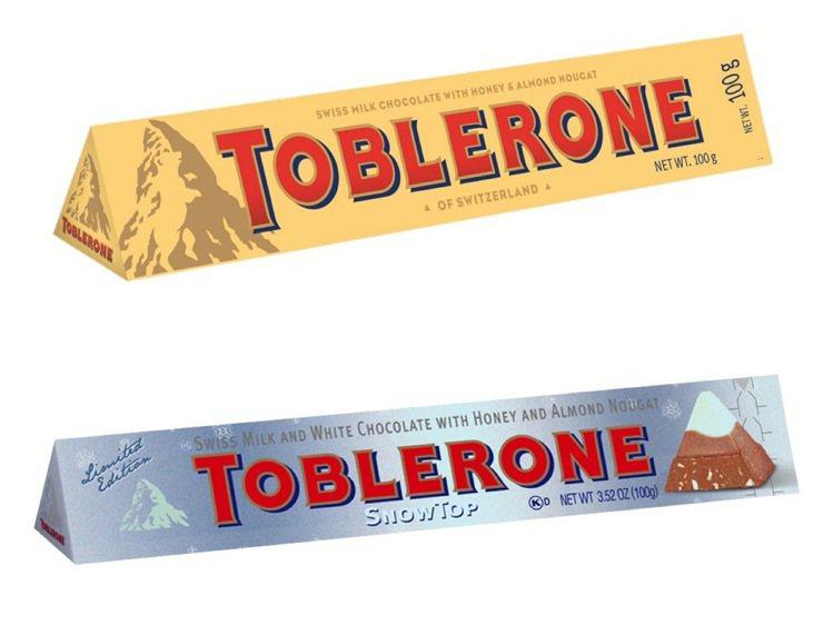Toblerone瑞士三角巧克力最經典的牛奶巧克力與冬季限定的雪山巧克力,濃醇美...