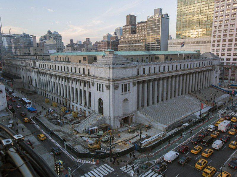 臉書今年八月租下詹姆斯.A.法利郵政大樓近七公頃辦公區域,是今年為止紐約最大租賃合約。圖/取自紐約時報