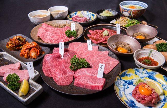 「主廚推薦套餐」,包括五款日本和牛、厚切牛舌或橫隔膜,搭配開胃前菜、綜合涼拌鮮蔬...
