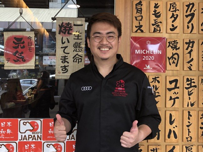 台中「俺達の肉屋(ORETACHINONIKUYA)」主廚鍾佳憲。記者陳葦庭/攝