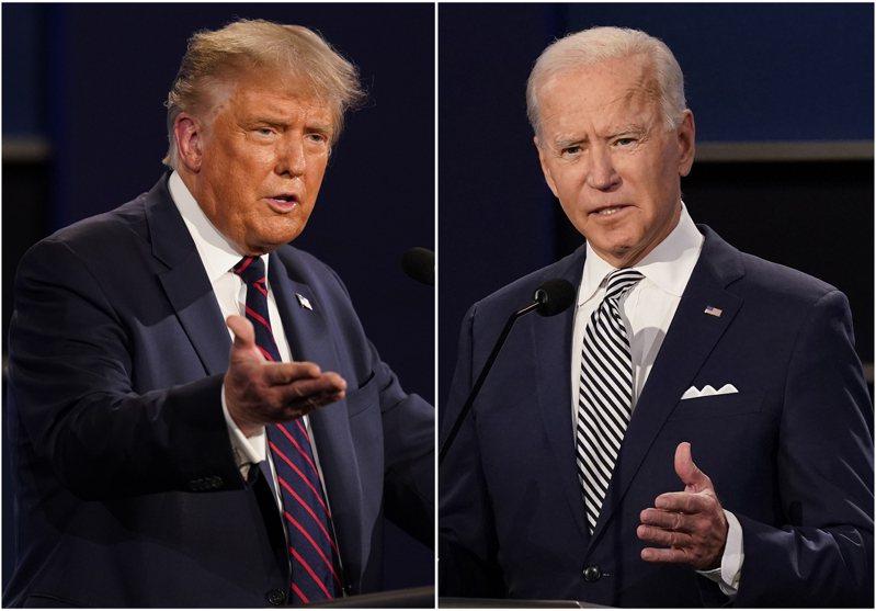 美國總統川普(左)與挑戰者拜登(右)第二回合辯論沒辦成,改透過里民大會隔空交鋒。(美聯社)