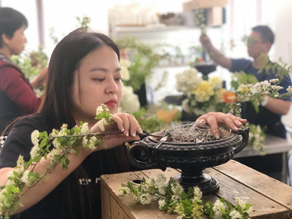 何嘉文花15天在北京研習花藝。圖/何嘉文提供