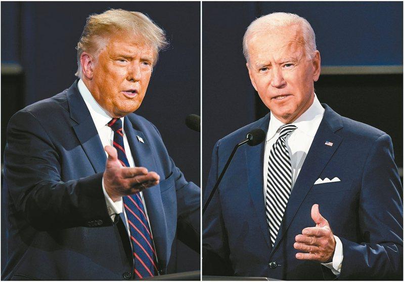 美國11月大選在即,目前民主黨總統候選人拜登(右)聲勢大幅領先現任總統川普(左)。  美聯社