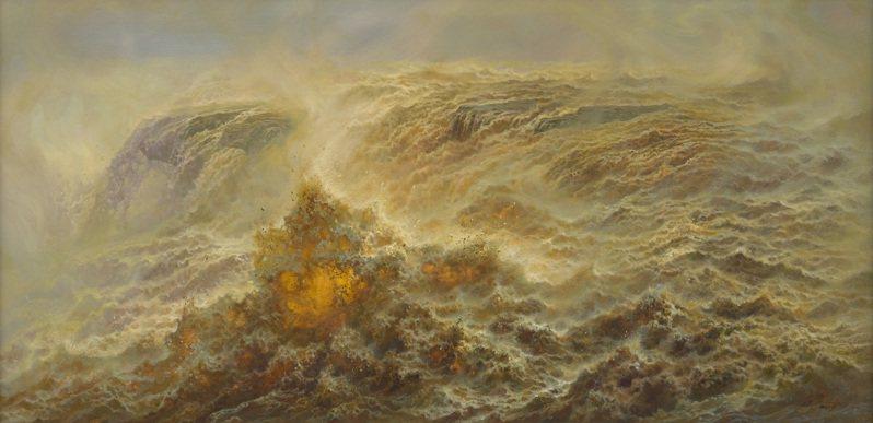 林建油畫作品《金濤出谷》。圖片提供/鍾鼎藝術
