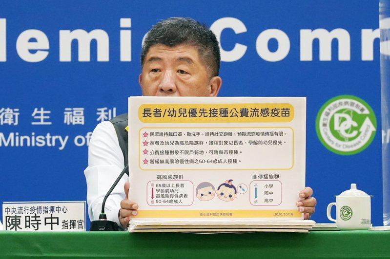 中央流行疫情指揮中心指揮官陳時中昨宣布,因今年公費流感疫苗接種踴躍,將暫緩50至64歲健康成人公費流感疫苗接種,把疫苗留給65歲以上長者及國小入學前幼兒等。記者許正宏/攝影