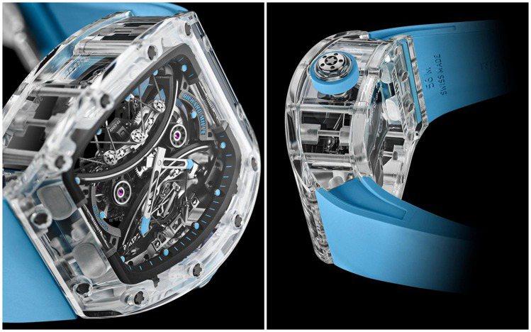 RM 53-02陀飛輪優異的避震效果,加上藍寶石水晶表殼,展現360度的透明美感...