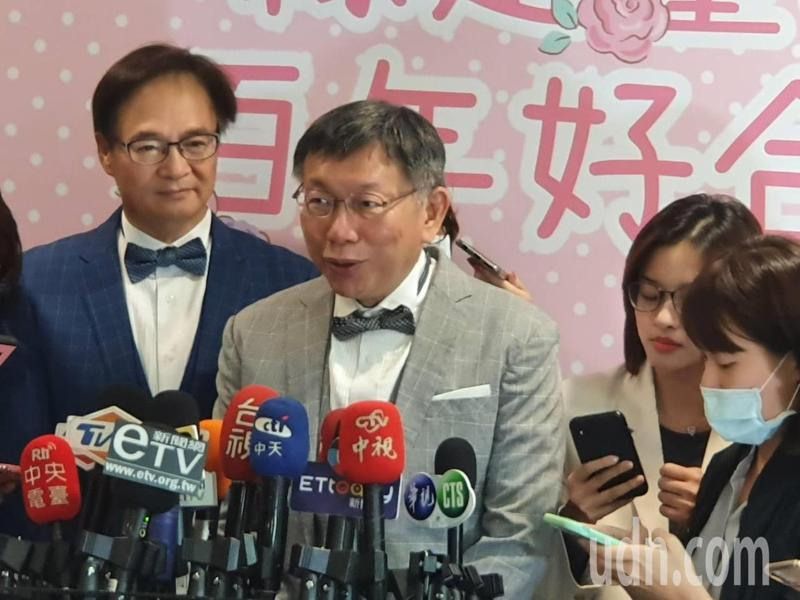 台北市長柯文哲下午出席北市聯合婚禮時受訪。記者楊正海/攝影