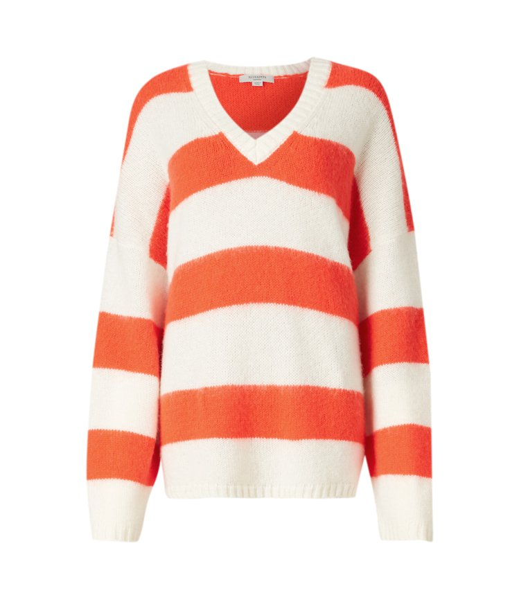 AllSaints Lou條紋V領針織毛衣6,700元。圖/AllSaints提...