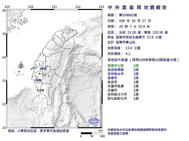地震報告。圖/取自中央氣象局