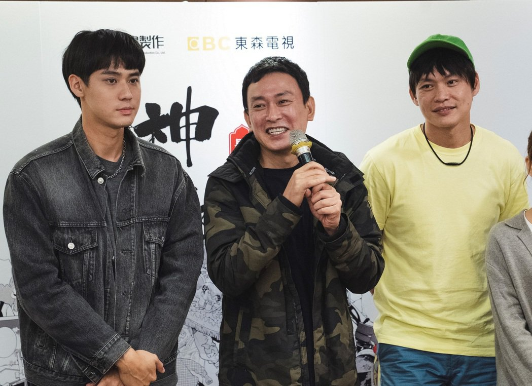 李玉璽(左)、王識賢、黃鐙輝出席「神之鄉」殺青酒。圖/東森、映畫提供