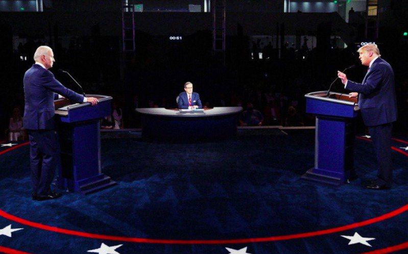 圖為川普、拜登進行總統大選辯論會資料照。法新社