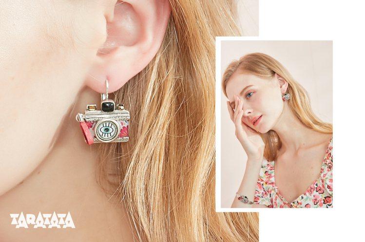 TARATATA復古相機耳環,1780元。圖/Prayer Garden提供