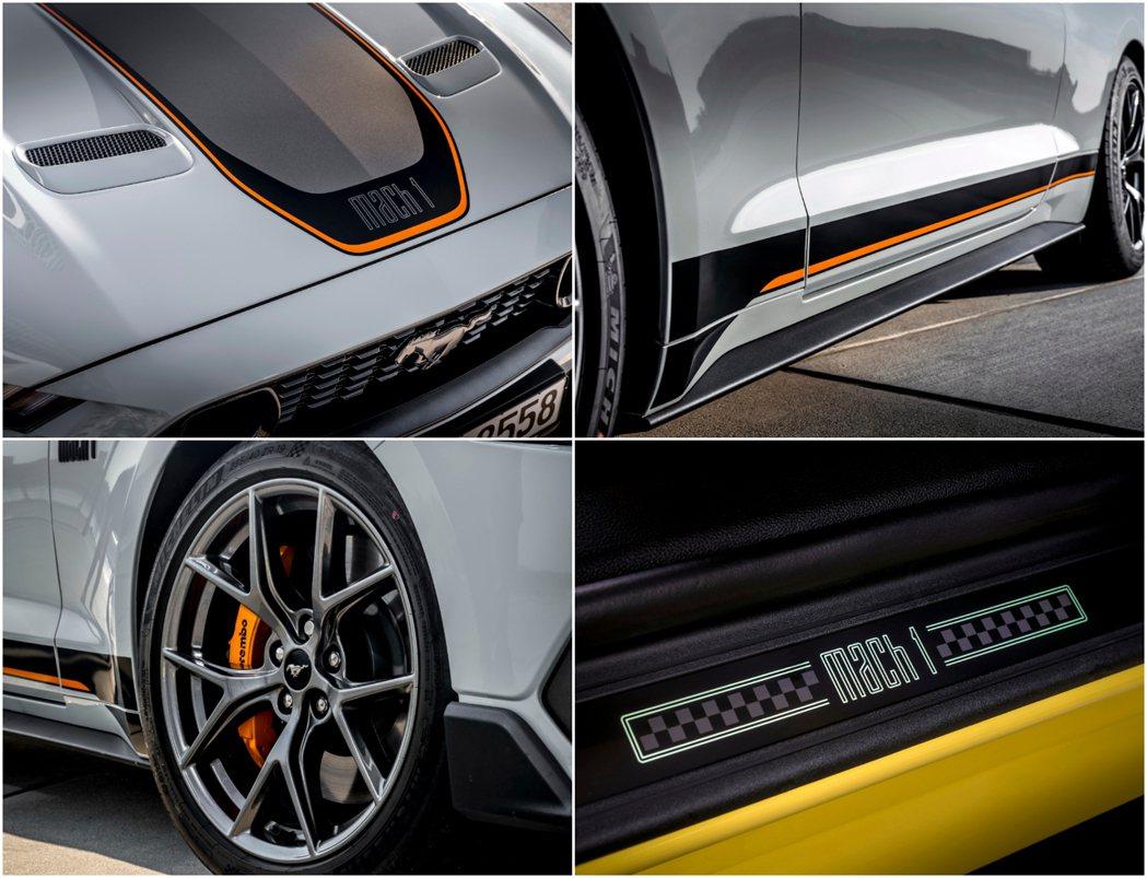 車身經典飾條、Mach 1門檻和專屬19吋鋁圈。 摘自Ford