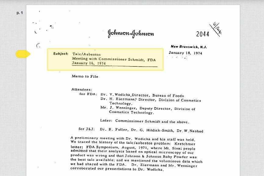 在FDA的要求下,嬌生公司以1972年至1973年製造的爽身粉為查驗對象,向FD...