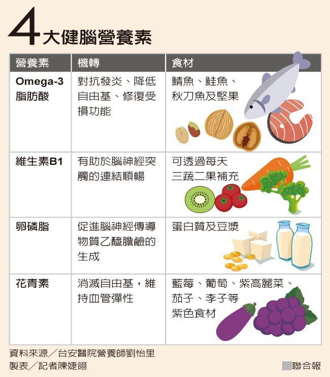 4大健腦營養素 製表/記者陳婕翎