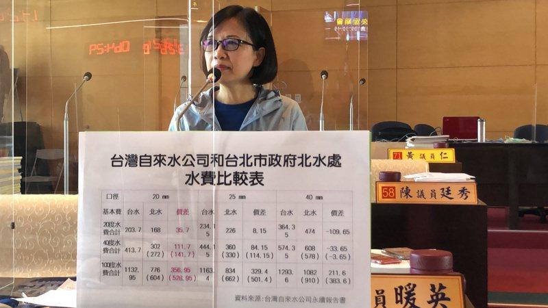 台中市議員朱暖英要求市府成立自來水管理處,提高用水方便。記者陳秋雲/攝影