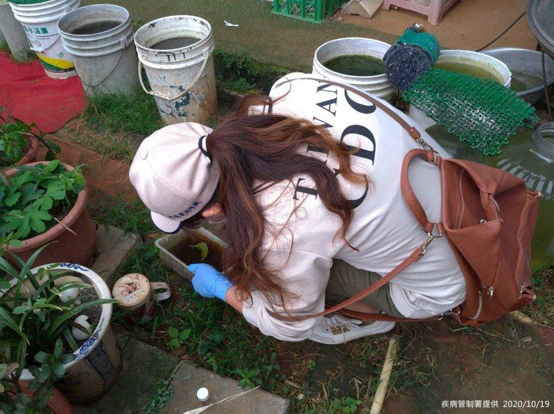 疾管署防疫人員於新北市林口區本土登革熱個案活動地周邊查核孳生源。圖/疾病管制署提供