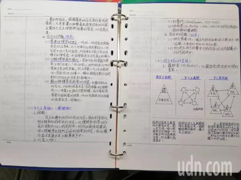 51歲李美足苦讀考上公職,筆記很完整。 圖/李美足提供