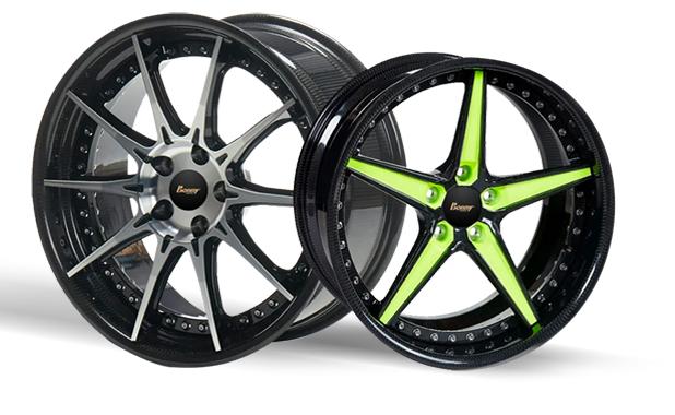 波力碳纖維複材汽車輪圈,由碳纖維輪輞與鍛造鋁輪輻組裝。 圖/Bonny Live...
