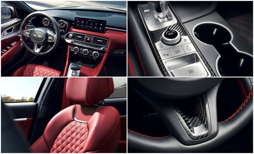 小改款Genesis G70 Sport內裝增添了碳纖維質料。 摘自Genesi...