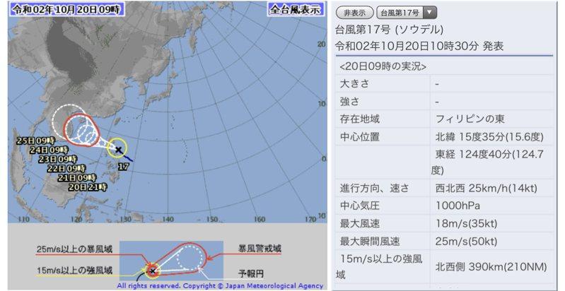 今年第17號颱風沙德爾生成。圖/取自日本氣象廳