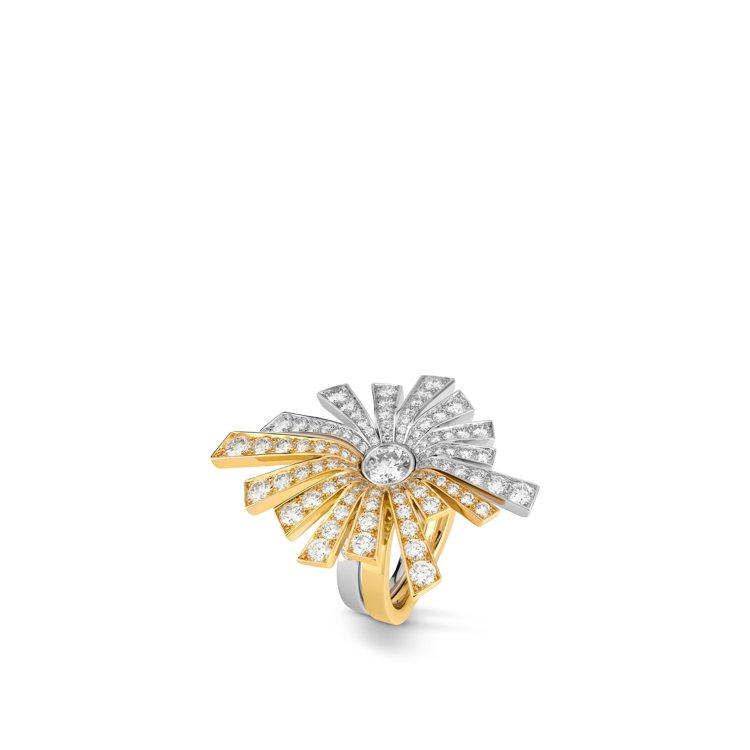 Soleil戒指,18K白金及黃金鑲嵌1顆重約0.51克拉圓形切割鑽石及111顆...