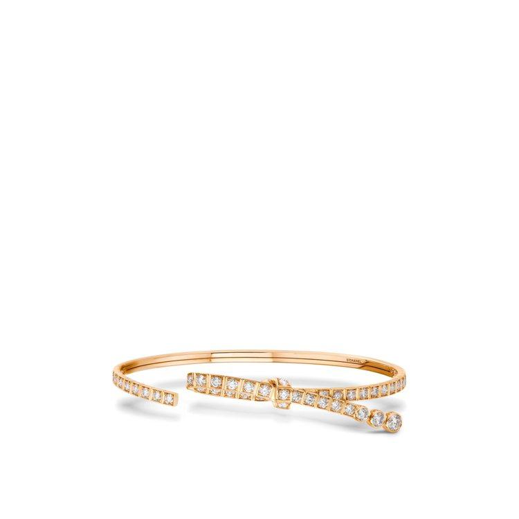 Ruban手環,18K BEIGE米色金鑲嵌48顆總重約1.8克拉圓形切割鑽石,...