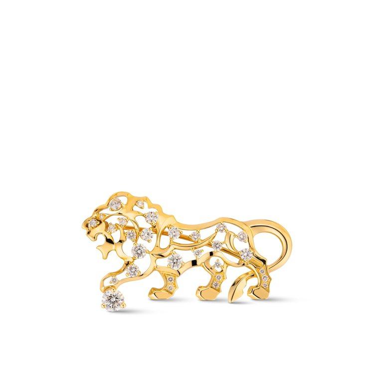 Lion胸針,18K黃金鑲嵌1顆重約0.3克拉圓形切割鑽石及28顆總重約0.8克...