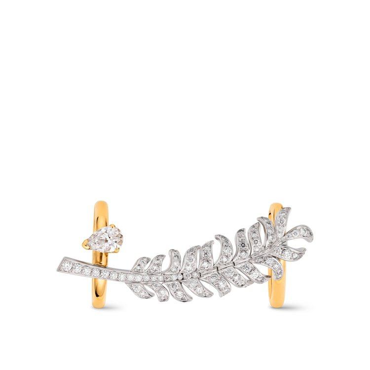 Plume戒指,18K白金及黃金鑲嵌1顆重約0.5克拉梨形切割鑽石及100顆總重...