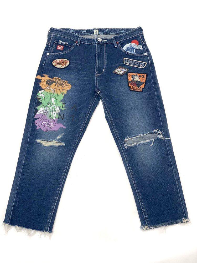 江戶勝淺草食堂印繡牛仔褲,限量6件8,980元。圖/EDWIN提供