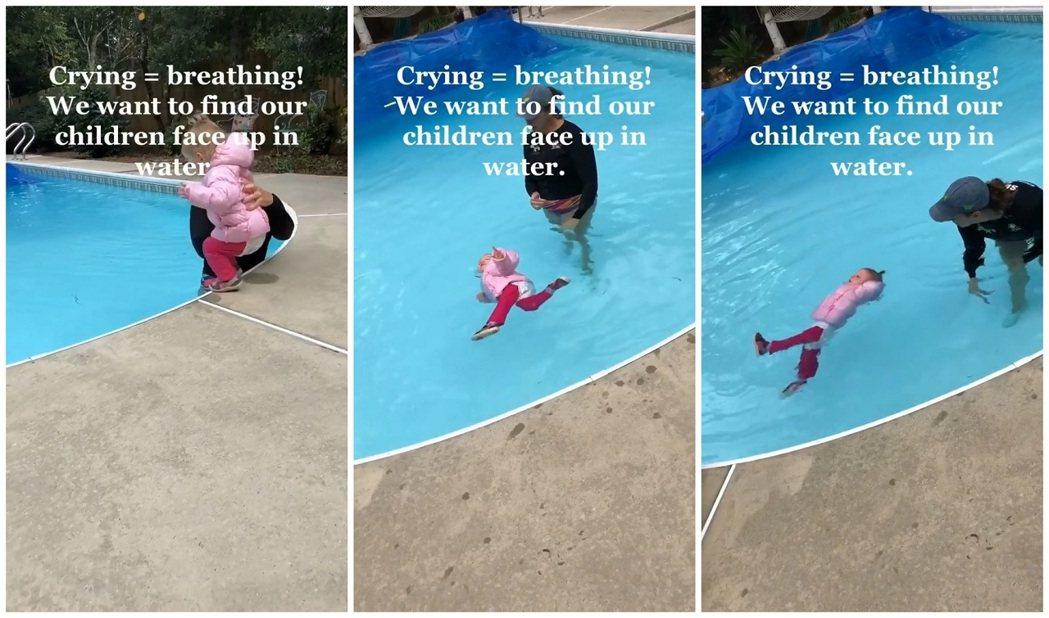 美國游泳教練香濃上TikTok公開1歲女童落水後,使用「翻身呼吸」技法自行翻身面...