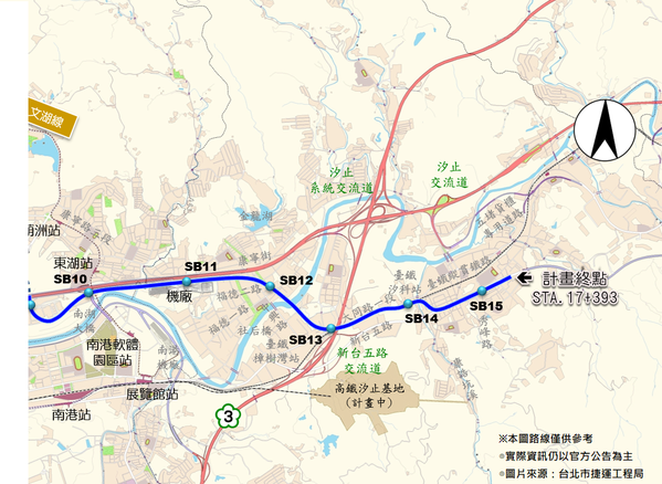 汐東線路段示意圖。圖/台北市捷運局、台灣房屋提供