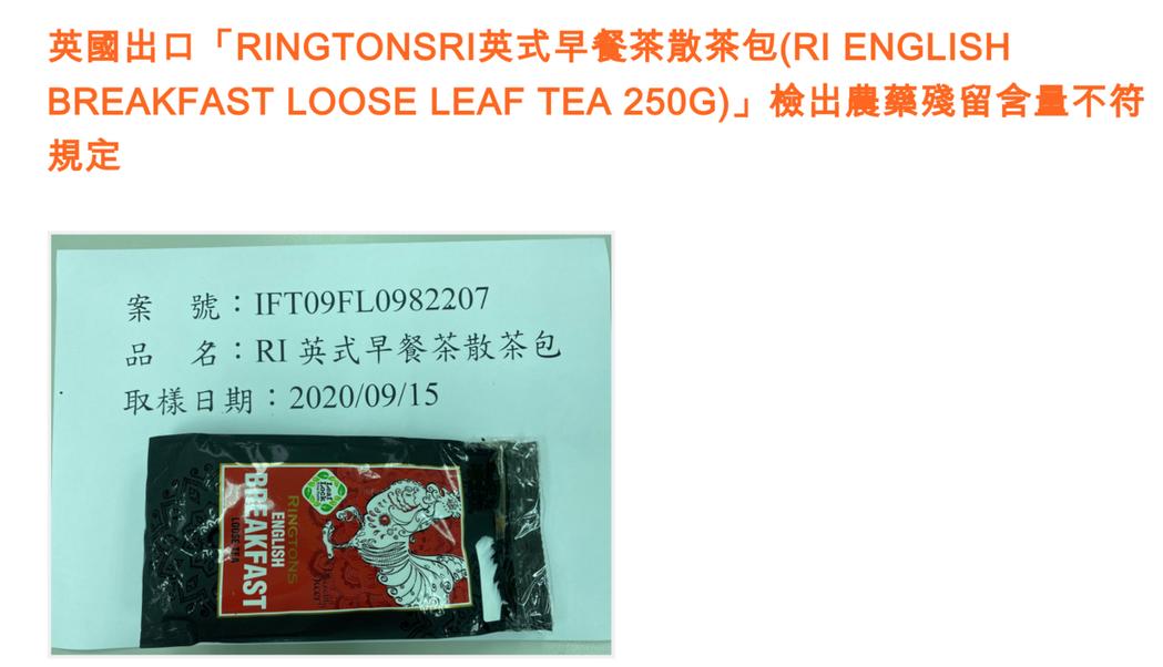 「RINGTONS英式早餐茶散茶包」檢出殘留農藥賽果培。圖/食藥署提供