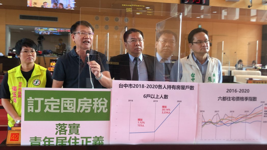 民進黨議員力促市府課囤房稅。記者陳秋雲/攝影