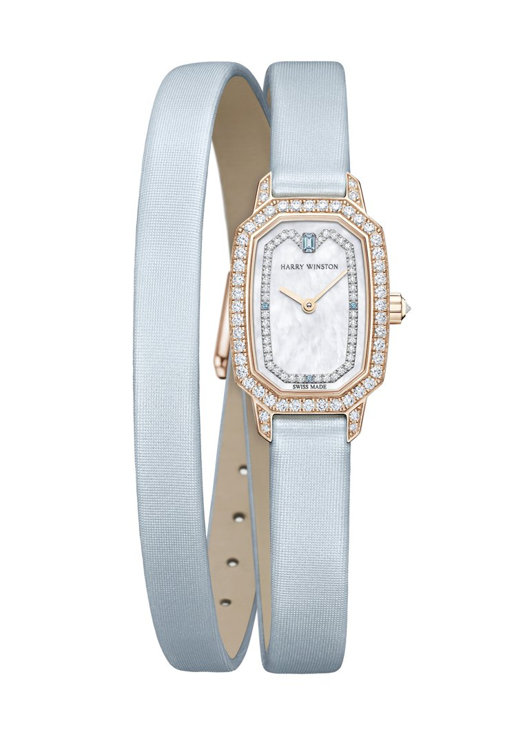 海瑞溫斯頓,Emerald系列腕表,玫瑰金鑲鑽,石英機芯,淺藍色雙圈表帶,價格店...