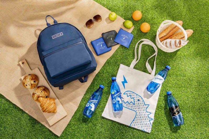 「舒味思」氣泡水推出「舒味思」風格出走集點送活動,集點商品包括「Schweppes x SPORT b  聯名帆布袋」、「SPORT b 零錢包」、「SPORT b 後背包」。圖/可口可樂公司提供