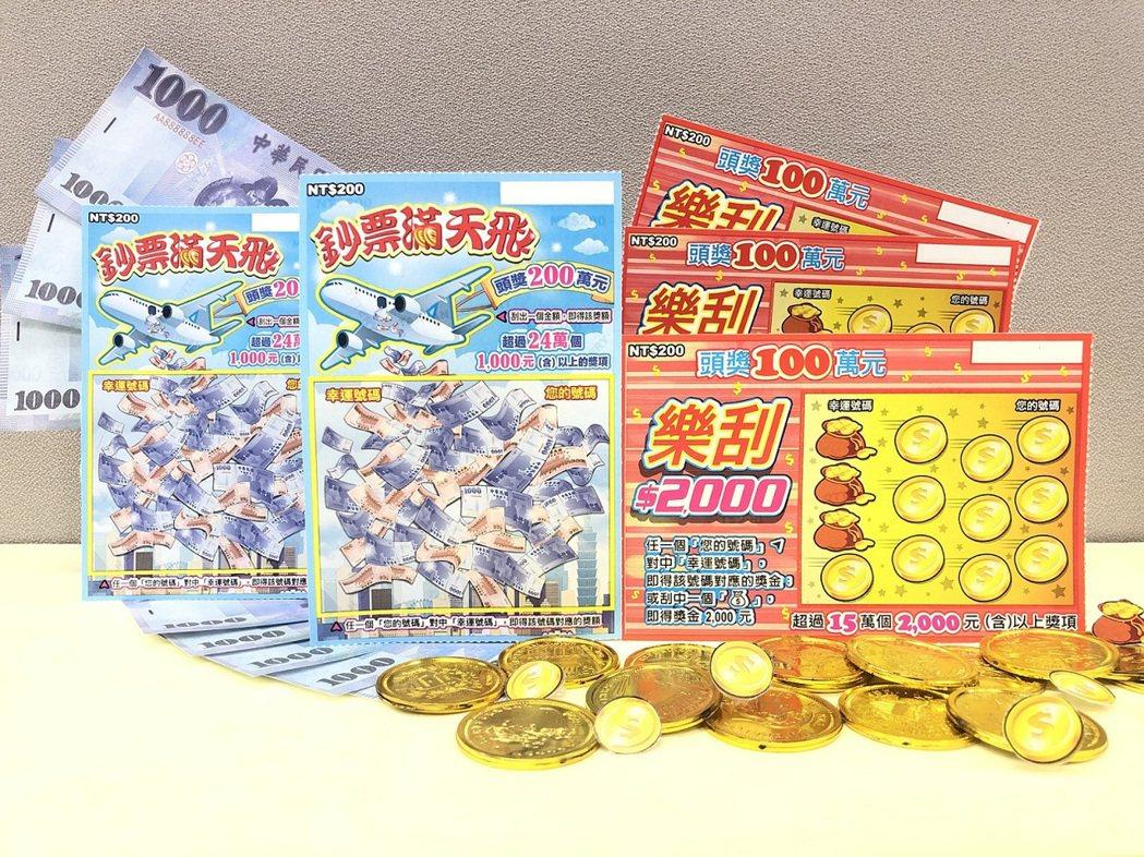 「鈔票滿天飛」及「樂刮$2,000」的票面。台彩公司/提供
