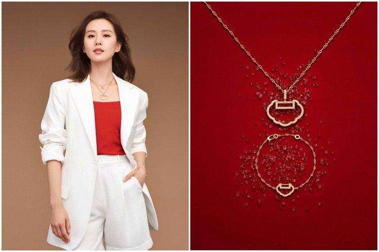白色西裝、短褲與紅色上衣的劉詩詩,使用玫瑰金鑲嵌鑽石的Yu Yi系列珠寶造型,以...