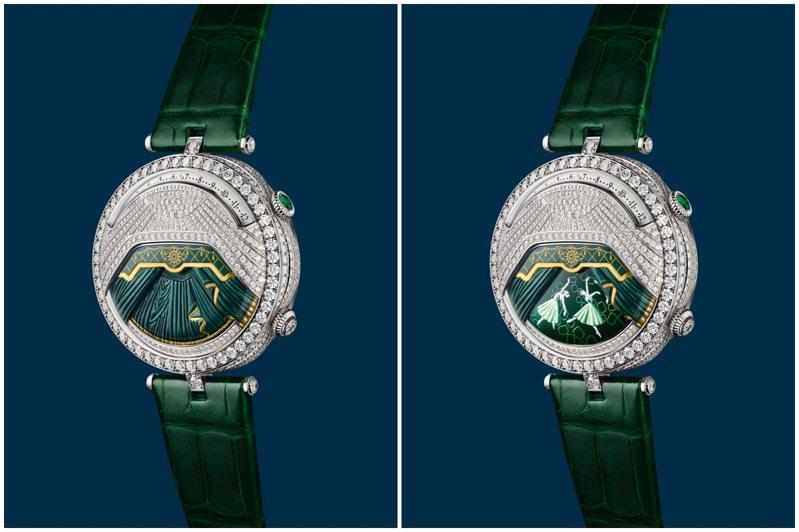 Lady Arpels Ballerine Musicale Émeraude腕表,44.5毫米白K金鑲鑽及祖母綠、雕刻白K金、鑽石及微繪表盤、手上鍊機芯搭載逆跳時間顯示、按需啟動音樂動畫及52小時動力儲存,獨立編號版,1390萬元。圖/梵克雅寶提供