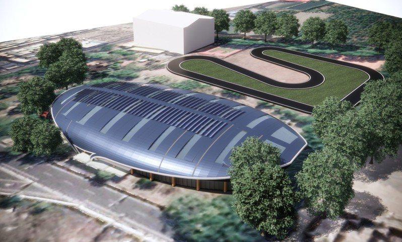 符合國際賽事規格的滑輪溜冰場完工預想圖。 圖/屏東縣政府提供