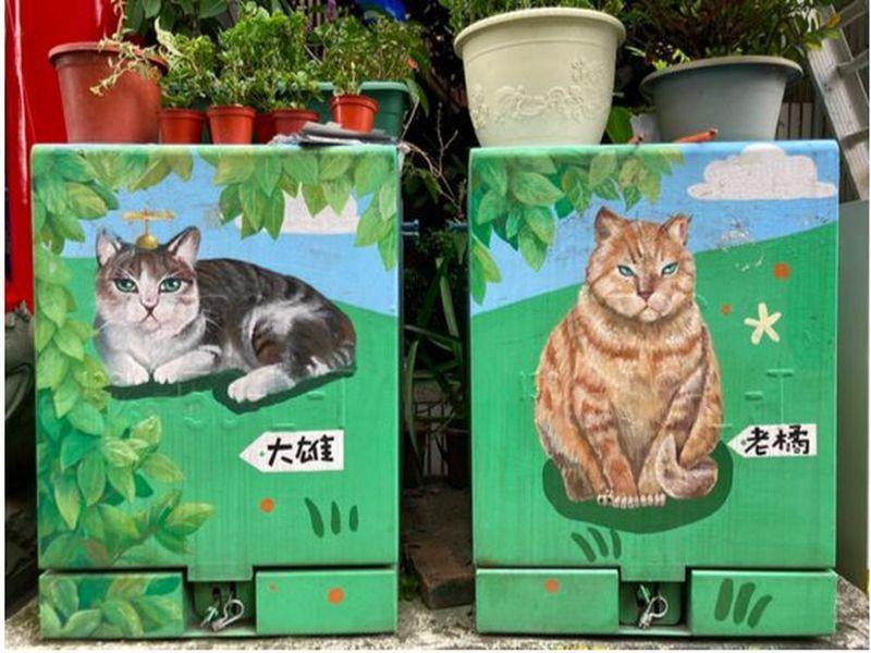 桃園中聖里社區所有變電箱都彩繪里貓,而每隻里貓背後都有一個動人的故事。圖/動督盟提供