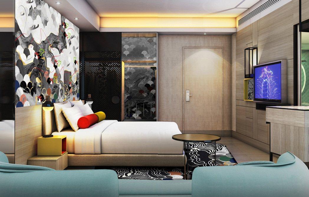 台北大直英迪格酒店高級客房一大床融入地方特色的繽紛彩繪彩繪。台北大直英迪格酒店/...