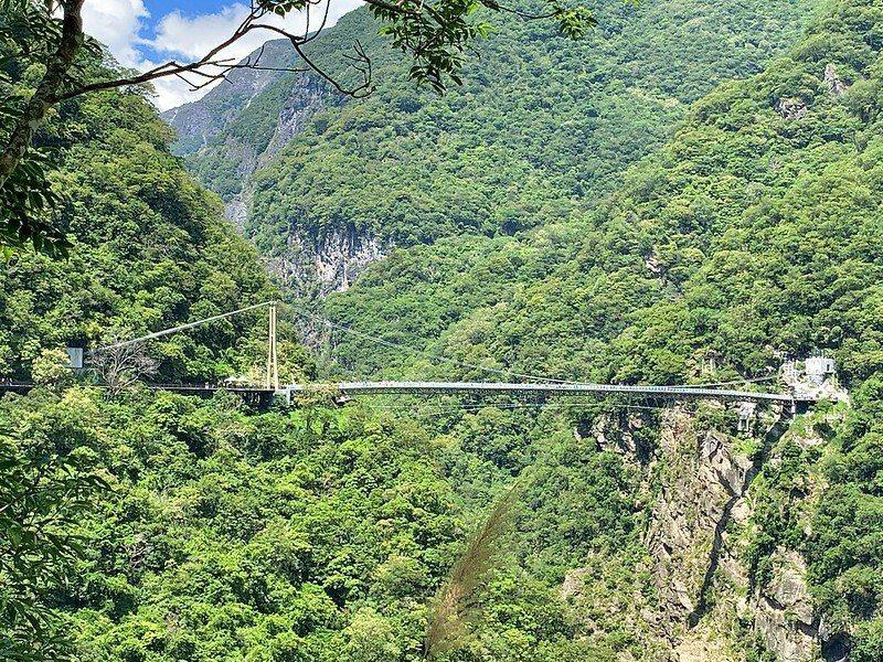從環流丘公園遠望的山月吊橋,拍攝日2020/8/31