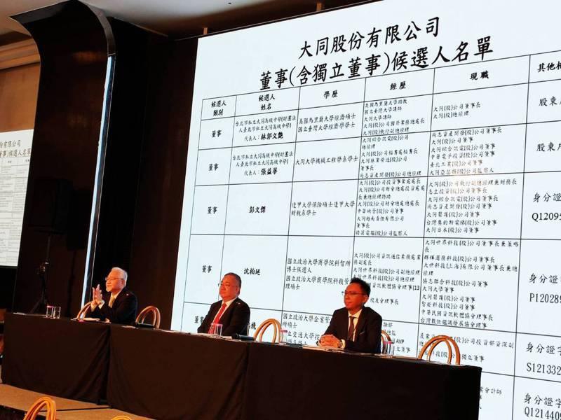大同股東臨會由林宏信主持,宣布投票延至9點51分止,全面改選九席董事。記者張義宮/攝影