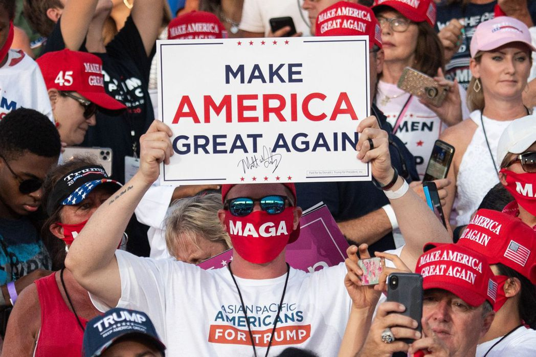 川普支持者參加造勢活動。法新社