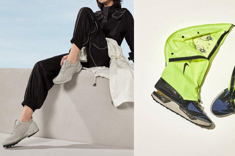 ECCO的BIOM AEX健步探索系列跑鞋(左)與Nike ISPA Drift...